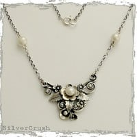sterling silver leaf necklace with pearls After by silvercrush