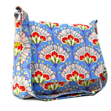 Messenger Purse - Medium with Adjustable Strap - Orange Purple Asian Floral