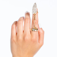 Rhinestone Spear Chain Nail Ring Set