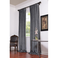 Half Price Drapes VPCH-184005-108 Natural Grey Blackout Velvet Pole Pocket Single Panel Curtain, 50 X 108