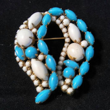 Hattie Carnegie Rhinestone Brooch, 1950's Aqua Stone & White Milk Glass Jewelry, Designer Signed