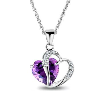 Lady Fashion Heart Pendant Necklace (Six Colors Crystal Jewelry)