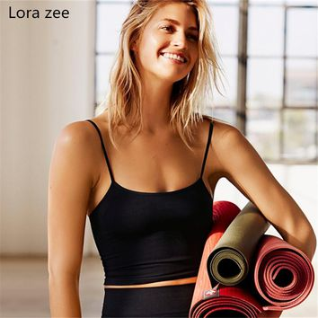 LORA ZEE yoga top with built in bra white t shirt women black gym top sexy sports tank slim crop top cute workout activewear