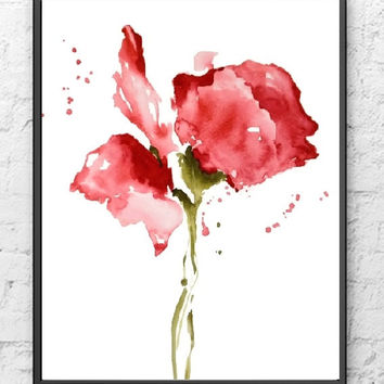 Rose Painting Print, NancyKnightArt.etsy.com, Red Flower Painting,Abstract Flower Watercolor Painting,Floral Art Print,Kid Wall Decor,Modern