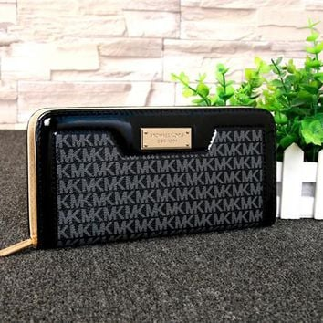 """Michael Kors"" Fashion Stitching Letter Print Zip Long Section Wallet Clutch MK Women Purse"