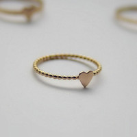 Gold Filled Stacking Ring- Tiny Heart Ring - Bridal Jewelry - Ariana Grande Style Ring - Love Symbol Ring - Stacking