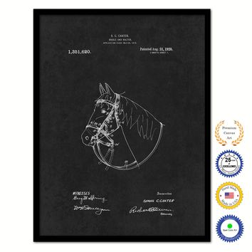 1920 Cowboy Horse Bridle and Halter Vintage Patent Artwork Black Framed Canvas Home Office Decor Great for Cowboy Cowgirl Horseback Rider