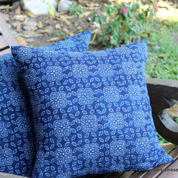 "20 "" Ethnic Hmong Indigo Batik Decorative Throw Pillow Or Cushion Cover"