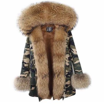 Camo fur parka Jacket