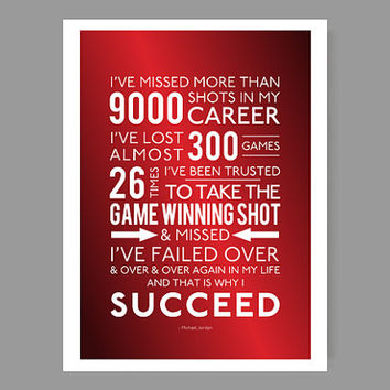 "And that is why I succeed - Michael Jordan / Quote Poster - Inspirational & colorful home decor / Sports, motivation, faith - 36"" x 48"" size"