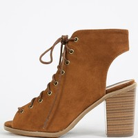 Breckelle's Tyler-11 Lace Up Chunky Heels | MakeMeChic.com