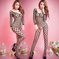 Hot Sexy Lace Neck Fishnet Body Stocking Sexy Lingerie Nets Clothings Sex Costumes Black Mesh Fishnet Open Crotch Bodystocking