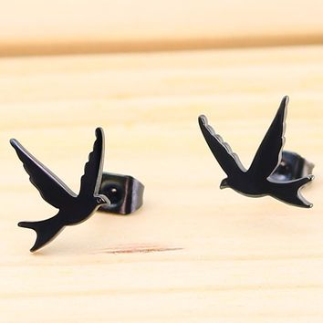 Hfarich Fashion Jewelry Cute Bird Swallow Stud Earrings for Women Party Gift Animal Bird Stainless Steel Jewelry oorbellen New