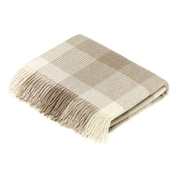 Merino Lambswool Blanket Check Beige Throw Blanket