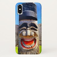 Fun smiling silly laughing teeth wooden face photo iPhone x case