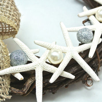 "Starfish Wreath- 10"" Rustic Grapevine Wreath, Natural Starfish, Pearls & Silver Nautical Beach Decor, Beach Wedding Decor, Burlap Bow"