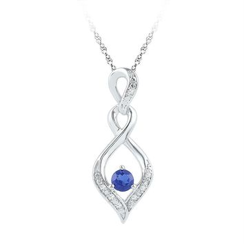Sterling Silver Women's Round Lab-Created Blue Sapphire Solitaire Diamond Pendant 1-5 Cttw - FREE Shipping (US/CAN)