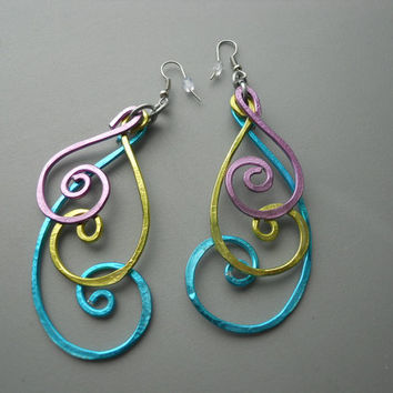 Hammered Peacock BOLD Long Swirly Spiral Feather Aluminum Earrings, Blue Purple Green Silver
