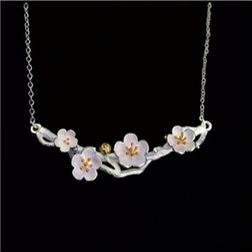 925 Sterling Silver Jewelry Vintage Cherry Blossom Necklace Fashion Summer  Branch Gold Flowers Necklaces   Pendants 7202776a2314