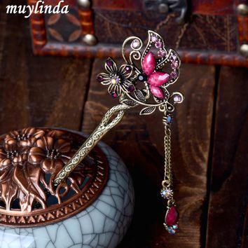 Vintage Rhinestone Butterfly Hair Stick Jewelry Vintage Wedding Hair Accessories Charm Metal Hairpins