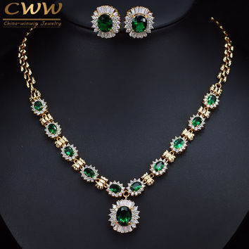 6 Color Choices Green Cubic Zirconia Crystal Necklace And Earring Gold Color Indian Wedding Jewelry Set For Women T273