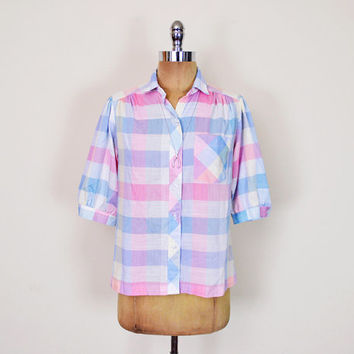 Vintage 70s 80s Pastel Pink & Blue Plaid Shirt Plaid Blouse Top 3/4 Sleeve Shirt Puff Sleeve Blouse Button Up Down Preppy Women M Medium