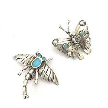 Lot of 2 Silver Bug Brooches, 1 Butterfly & 1 Dragonfly, Tiny Bug Pins, Silver and Turquoise Cabocons and Enamel, Vintage Silver Figurals