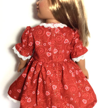 Valentine's Day Doll Dress, Red Dress with Hearts, 18 Inch Doll Clothes, Sparkly Red Dress