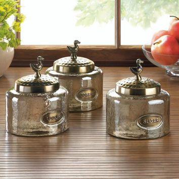 Hammered Glass Bird Finials Canisters | Set of 3
