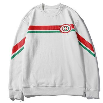 GUCCI 2019 new red and green striped letter print pullover sweater white