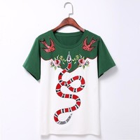 Gucci Snake Embroidery T Shirt