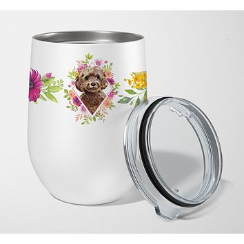 Chocolate Cockapoo Pink Flowers Stainless Steel 12 oz Stemless Wine Glass CK4253TBL12