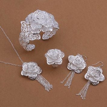 Wholesale 925 jewelry silver plated Jewelry Set, silver plated Fashion Jewelry,Flower Necklace+Bangle+Earring+Ring Set SMTS444