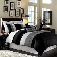 8 Piece Black Grey White Regatta King Comforter Set with accent pillows