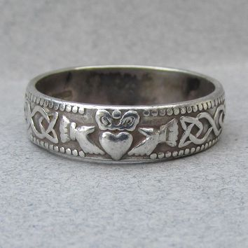 Men's or Ladies Irish Sterling Silver Claddagh & Celtic Knot Vintage Band Ring, Size 10