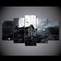 Halloween spooky haunted house full moon bats wall art canvas print