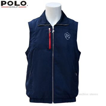 Brand POLO Outdoor Clothes Men Spring Winter Warm Vest Plus Thick Velvet Golf Jacket for Men Waistcoat Windbreaker Vest Apparel