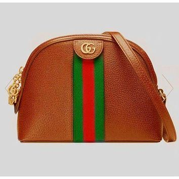 GUCCI 2019 new double G printing retro canvas shell bag shoulder Messenger bag Brown