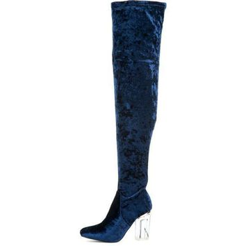 Cape Robbin Fay 15 Women's Blue High Heel Boot