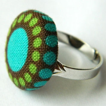 Button Ring Hippie Boho Green Brown Turquoise by PushTheButtons