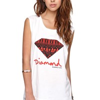 Diamond Supply Co Logo Muscle T-Shirt - Womens Tee - White -