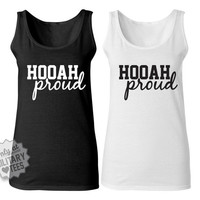 Hooah Proud Army Tank Top Shirt, Custom Military Shirt for Wife, Fiance, Girlfriend, Workout