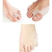 Bunion Toe Relief Set - 2 Big Toe Protectors & 2 Little Toe Protectors & 2 Toe Spacers for Bunions Treatment - Effective Gel Toe Separators / Spacers / Straightener / Spreader for Crooked Toes Alignment & Big Toe Joint Pain Relief