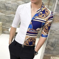 Printed Short Sleeve  Sleeve Slim Fit Streetwear Camisa Masculina Men Shirt 3XL-M