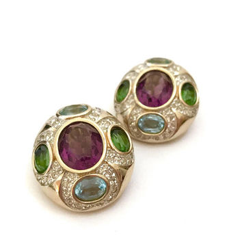 Panetta Jeweled Clip-on Earrings, Amethyst Peridot & Aquamarine Crystals, Pave Set Clear Crystals, Vintage Gift for Her, Designer Signed
