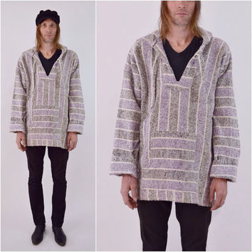 vintage PONCHO pullover HIPPIE hooded Mexican Baja surfer Drug Rug skater Unisex hoody XL extra Large