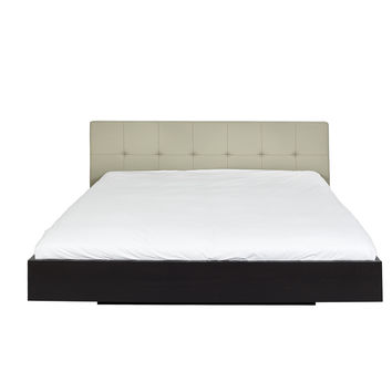 Float Bed - King Size W/ Upholstered Headboard + Mattress Support Grey Leather - Wenge