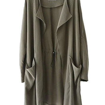 Army Green Lapel Drawstring Waist Trench Coat
