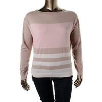 Agnona Womens Cashmere Colorblock Pullover Sweater