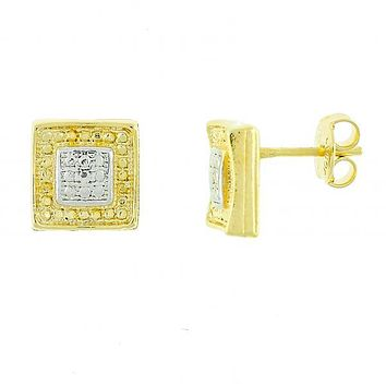 Gold Layered 02.55.0023 Stud Earring, Polished Finish, Two Tone